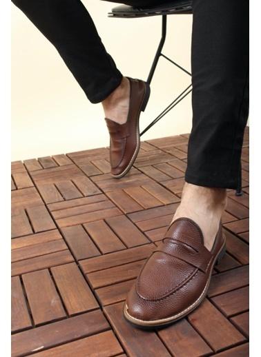 Oksit Jes Püsküllü Erkek Loafer Rugan Ayakkabı Taba